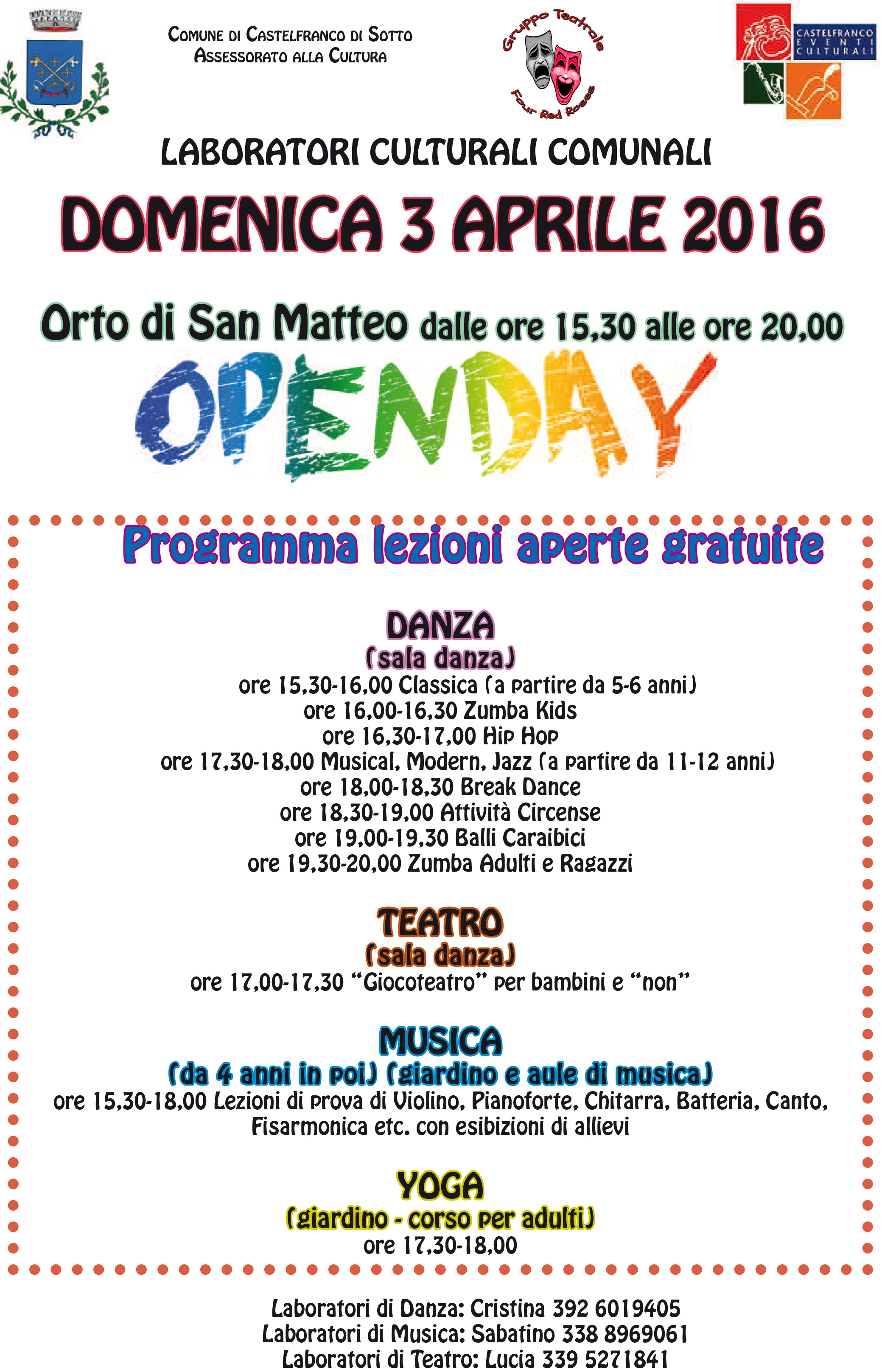 OPENDAY 3 aprile 2016
