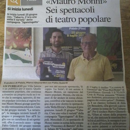 """21° Rassegna di Teatro Popalare """"Mauro Monni"""" articolo de """"La Nazione"""" del 22 giugno 2018"""